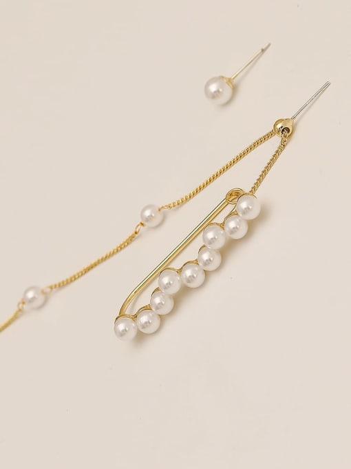 HYACINTH Brass Imitation Pearl Asymmetrical Geometric Vintage Drop Earring 2