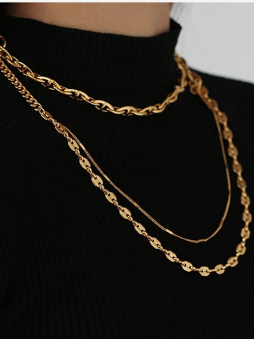 ACCA Brass Freshwater Pearl Geometric Vintage Multi Strand Necklace 1