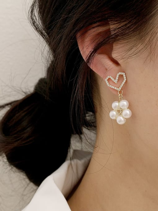 HYACINTH Brass Imitation Pearl Heart Cute Drop Earring 1