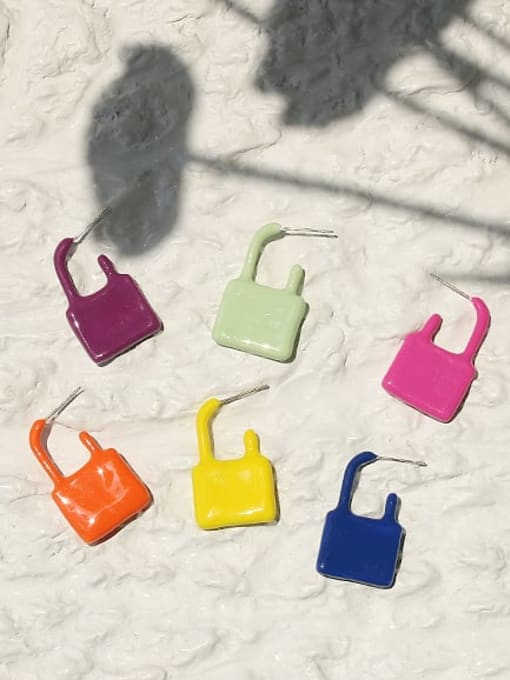 ACCA Zinc Alloy Enamel Locket Minimalist Single Earring 4