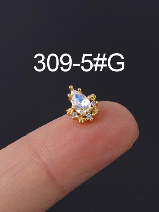5 Gold Single Brass Cubic Zirconia Geometric Hip Hop Chandelier Earring
