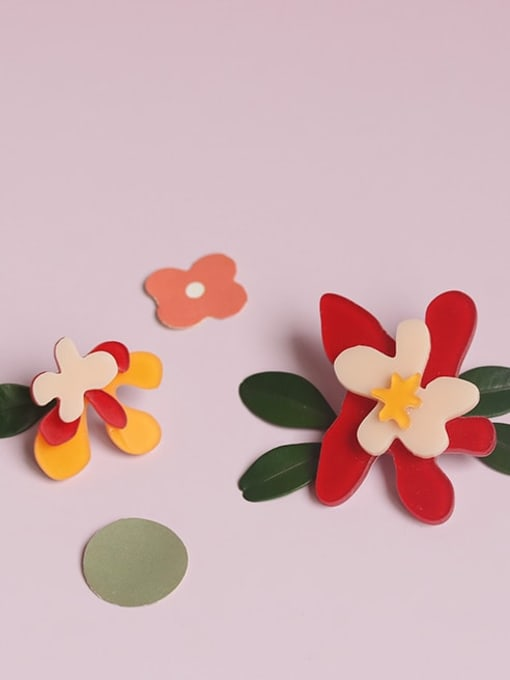 Five Color Alloy Acrylic Flower Cute Stud Earring 2