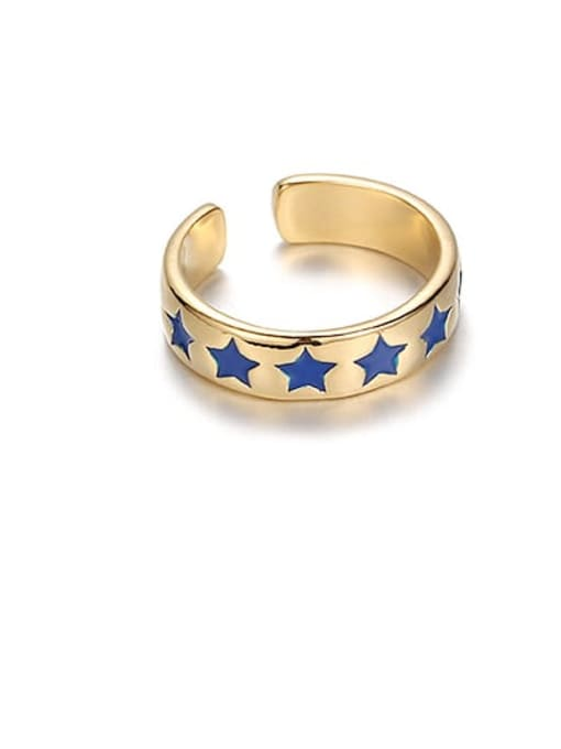 Blue Star Brass Enamel Star Minimalist Band Ring