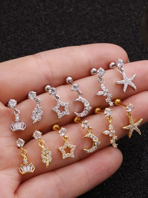 HISON Brass Cubic Zirconia Geometric Cute Stud Earring