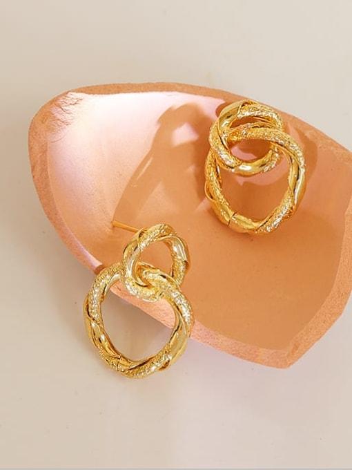 Five Color Brass Geometric Hip Hop Drop Earring 1