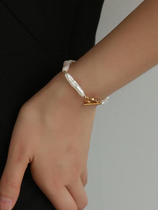 Five Color Brass Freshwater Pearl Irregular Minimalist Beaded Bracelet 1