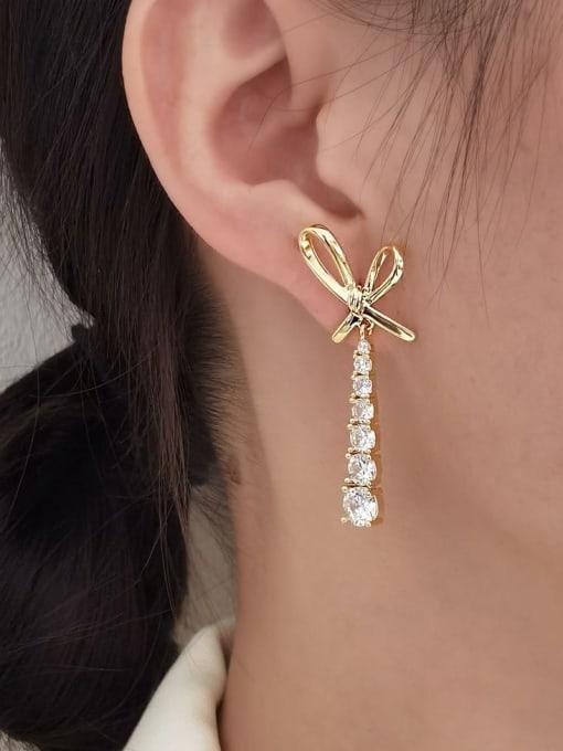 HYACINTH Brass Cubic Zirconia Bowknot Trend Drop Long Earring 1