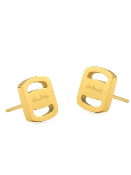 Small Rectangular Earrings Brass Round Vintage Stud Earring