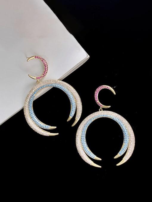 SUUTO Brass Cubic Zirconia Geometric Luxury Cluster Earring 1