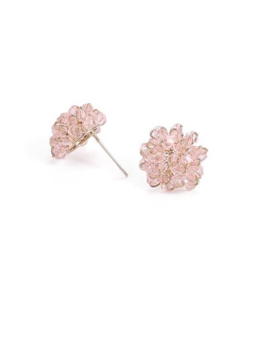 Light pink Brass Cubic Zirconia Star Minimalist Stud Earring