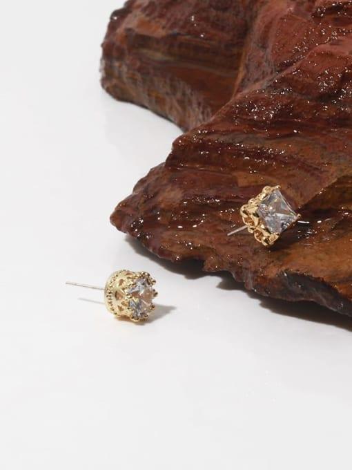 TINGS Brass Cubic Zirconia Geometric Minimalist Stud Earring 4