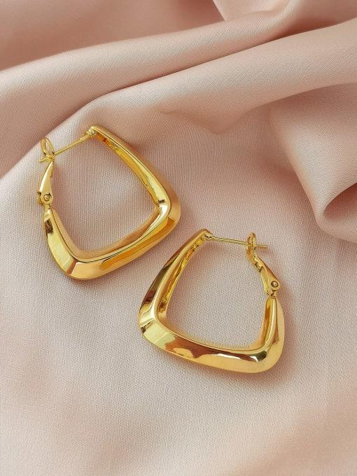 18K Gold Brass Hollow Geometric Minimalist Huggie Earring