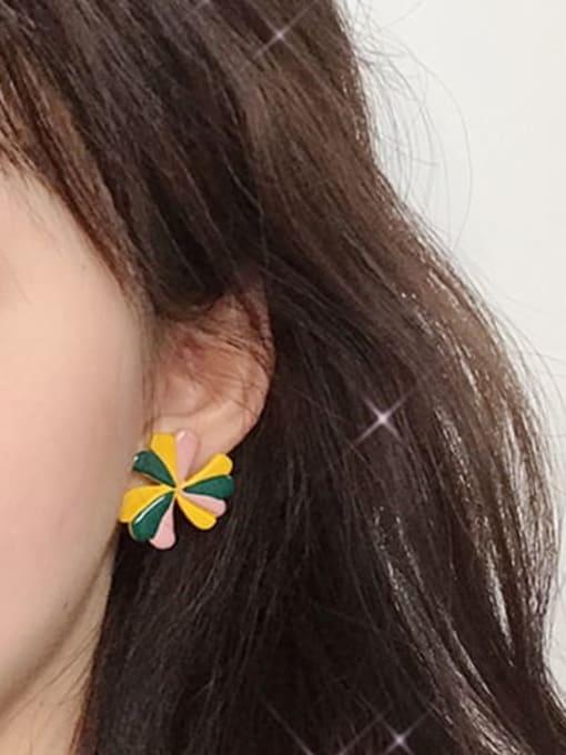 Five Color Alloy Enamel Flower Minimalist Stud Earring 1