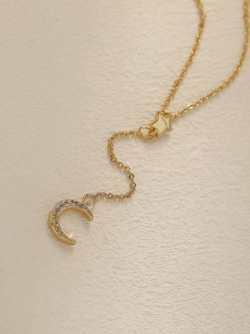 14k Gold Brass Cubic Zirconia Moon Vintage Tassel Trend Korean Fashion Necklace