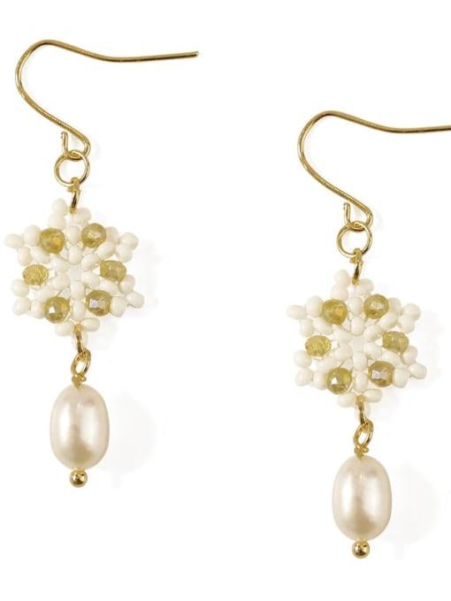 Five Color Alloy Imitation Pearl  Flower Cute Hook Earring 4