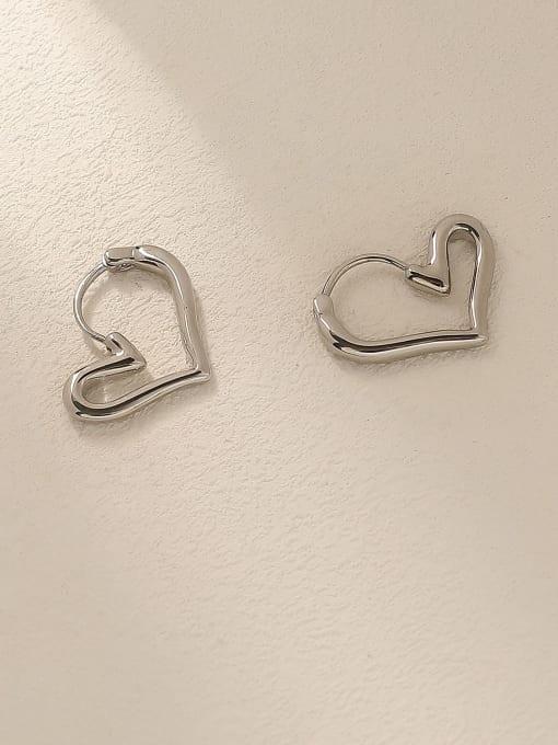 white K Brass Hollow Heart Minimalist Huggie Trend Korean Fashion Earring