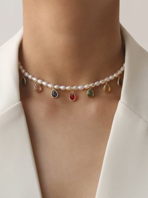 TINGS Brass Freshwater Pearl Water Drop Minimalist Necklace 2