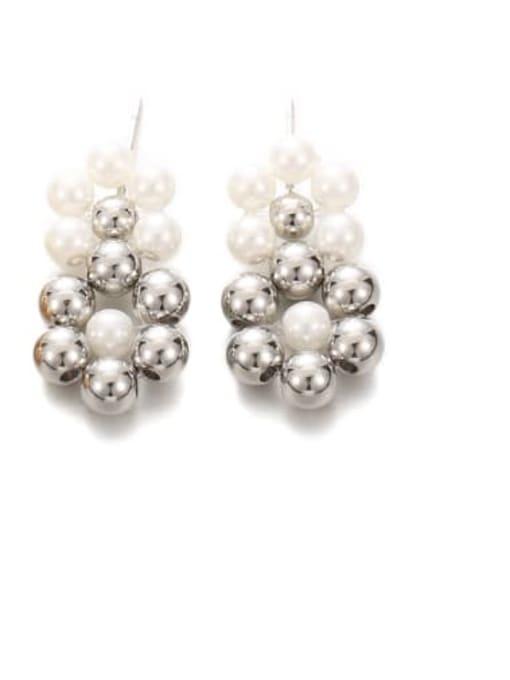 Platinum Brass Bead Geometric Vintage Drop Earring