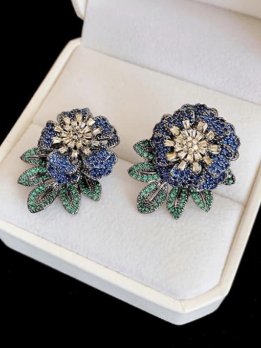 Blue black Brass Cubic Zirconia Flower Hip Hop Stud Earring