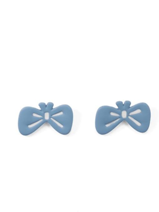 Five Color Alloy Enamel Bowknot Hip Hop Stud Earring 0