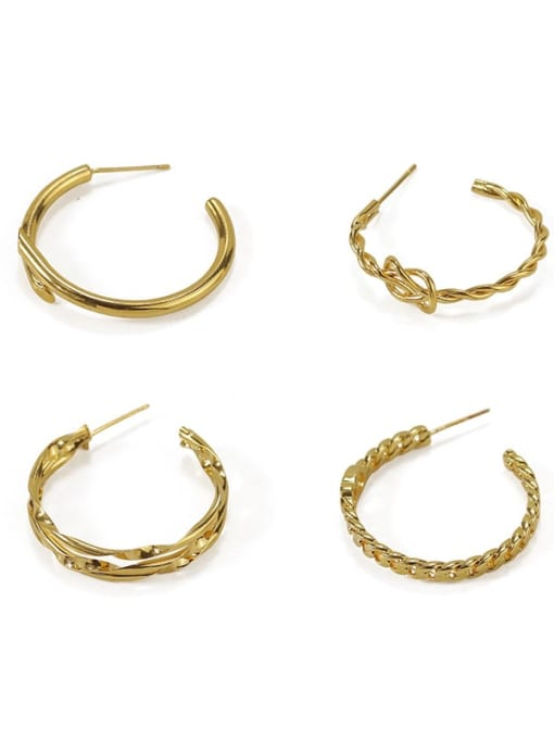 ACCA Brass Cubic Zirconia Geometric Hip Hop Stud Earring 0