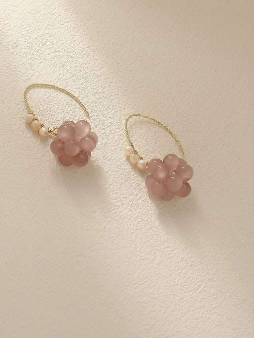 HYACINTH Brass Bead Flower Cute Hook Earring 2