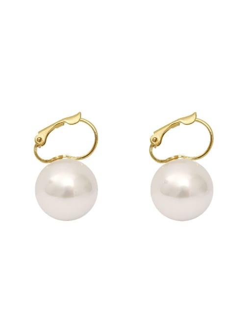 HYACINTH Copper Imitation Pearl Geometric Minimalist Huggie Earring 0
