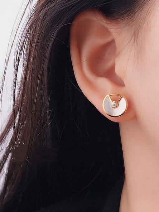 OUOU Brass Cats Eye Geometric Minimalist Stud Earring 1