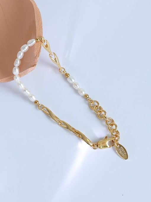 Five Color Brass Imitation Pearl Geometric Hip Hop Link Bracelet 2