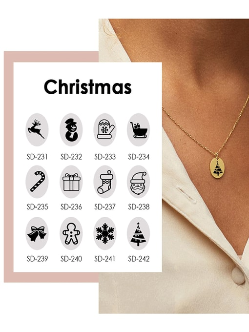 Desoto Stainless steel Oval Minimalist Christmas  Can you type lettering   Necklace 1