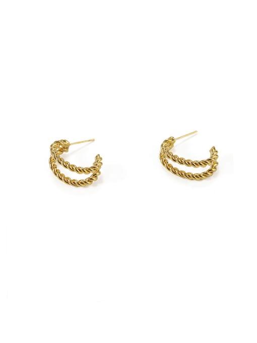 Item 5 ( Brass  Smooth Irregular Vintage Stud Earring