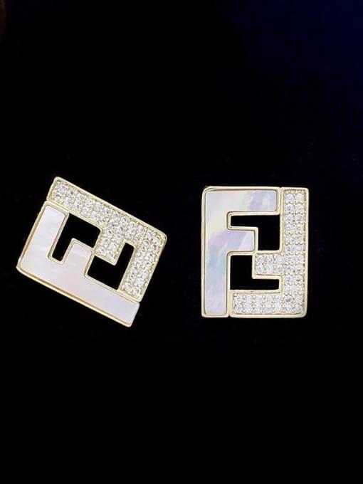 SUUTO Brass Cubic Zirconia Geometric Minimalist Stud Earring 0