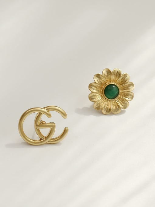 14k Gold Brass Acrylic Asymmetric flowers Geometric Vintage Stud Trend Korean Fashion Earring