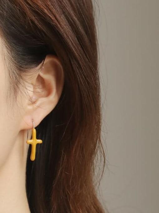 ACCA Brass Enamel Cross Vintage Hook Earring 1