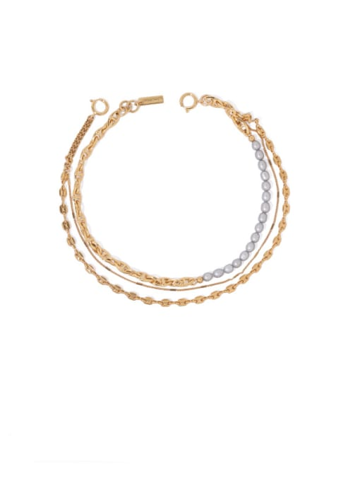 Gold (grey) Brass Freshwater Pearl Geometric Vintage Multi Strand Necklace