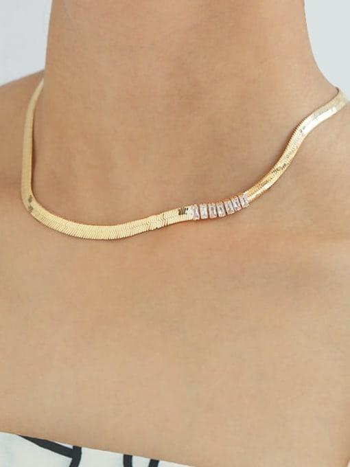 TINGS Brass Cubic Zirconia Geometric Minimalist Necklace 1