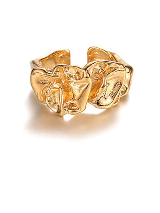 golden Brass Irregular Geometric Vintage Band Ring