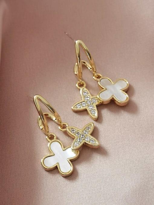 14k Gold Brass Shell Cross Minimalist Huggie Earring