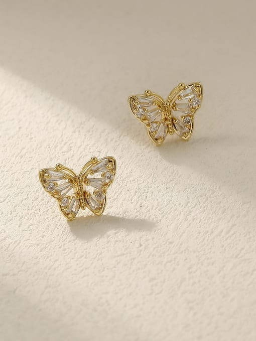 HYACINTH Brass Cubic Zirconia Butterfly Vintage Stud Earring