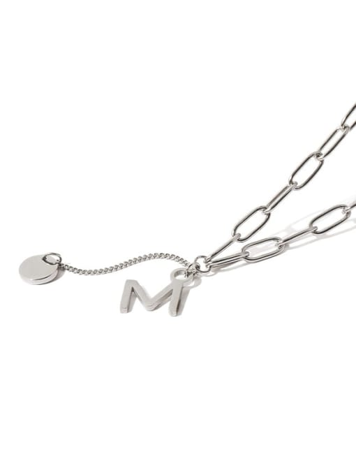 TINGS Titanium Steel Letter Vintage Lariat Necklace