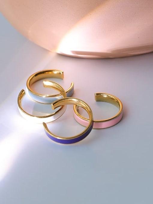 Five Color Brass Enamel Geometric Minimalist Band Ring 4
