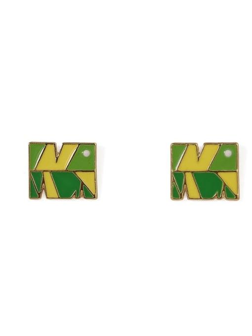 Five Color Alloy Enamel Tree Cute Stud Earring 3