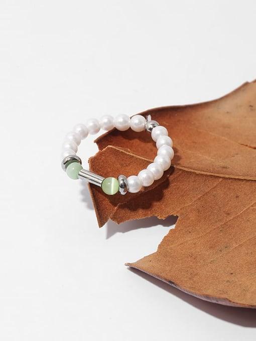TINGS Brass Imitation Pearl Geometric Minimalist Bead Ring 1