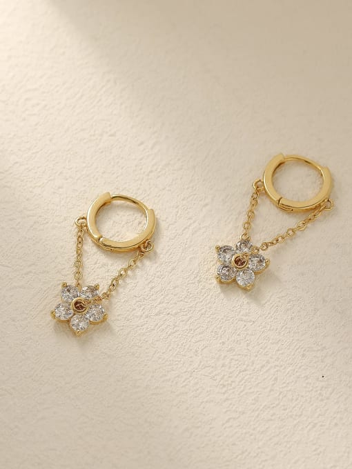 HYACINTH Brass Cubic Zirconia Flower Vintage Huggie Trend Korean Fashion Earring 2