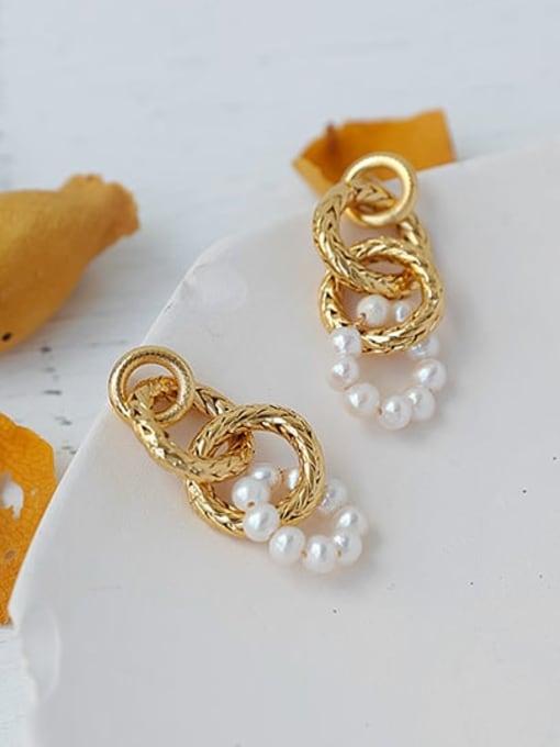 ACCA Brass Imitation Pearl Geometric Hip Hop Drop Earring 0