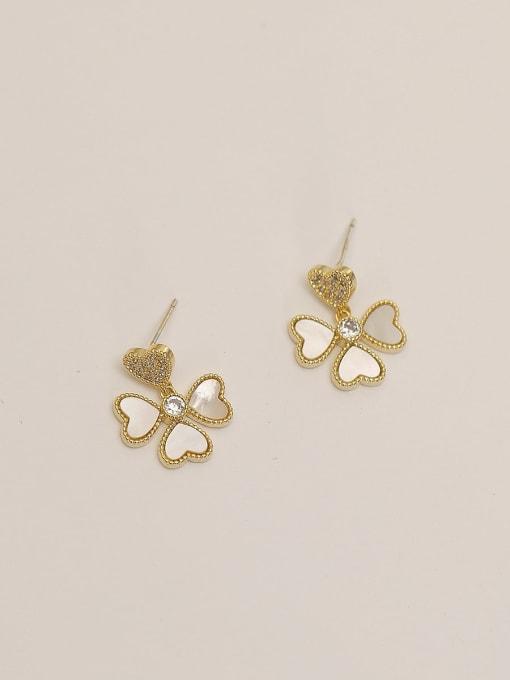 14k Gold Brass Shell Flower Minimalist Stud Earring