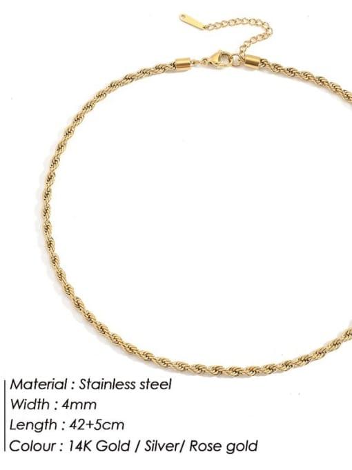 Gold 4mm * 42+ 5cm Stainless steel Irregular Hip Hop Necklace