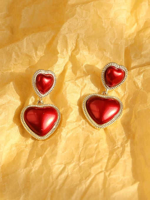 14K gold red Brass Enamel Heart Ethnic Drop Earring