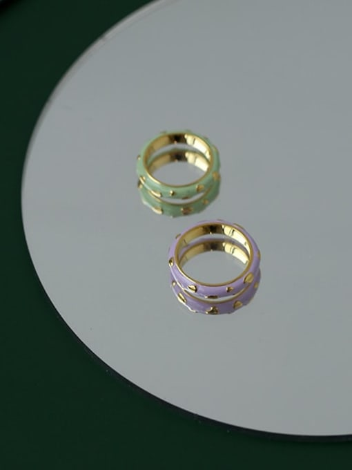 Five Color Brass Enamel Round Minimalist Band Ring 3