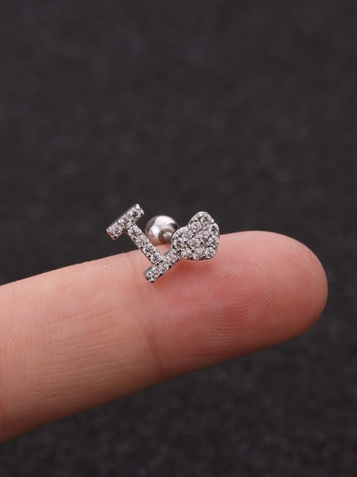 13(Single) Brass Cubic Zirconia Ball Cute Stud Earring